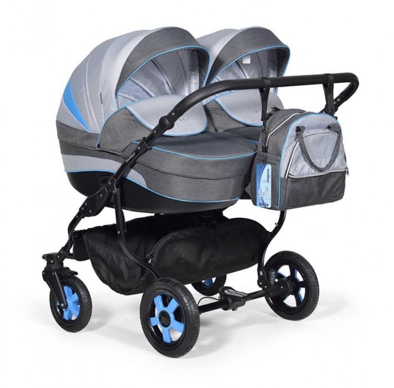 Бебешка количка за близнаци Indigo Duo; цвят/сив/син