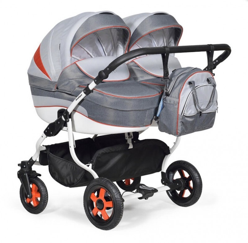 Бебешка количка за близнаци Indigo Duo; цвят/сив/червен