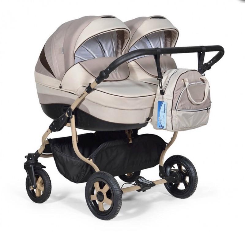 Бебешка количка за близнаци Indigo Duo; цвят/крем/бежов