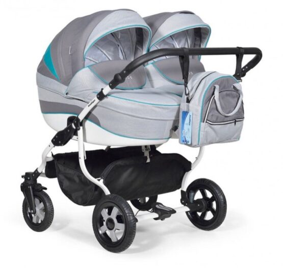 Бебешка количка за близнаци Indigo Duo; цвят/сив/аквамарин