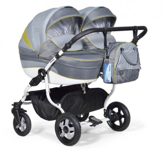 Бебешка количка за близнаци Indigo Duo; цвят/сив/зелен