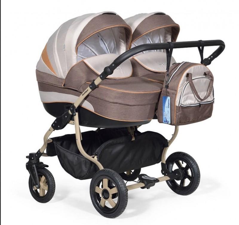 Бебешка количка за близнаци Indigo Duo ; цвят/кафяв/бежов