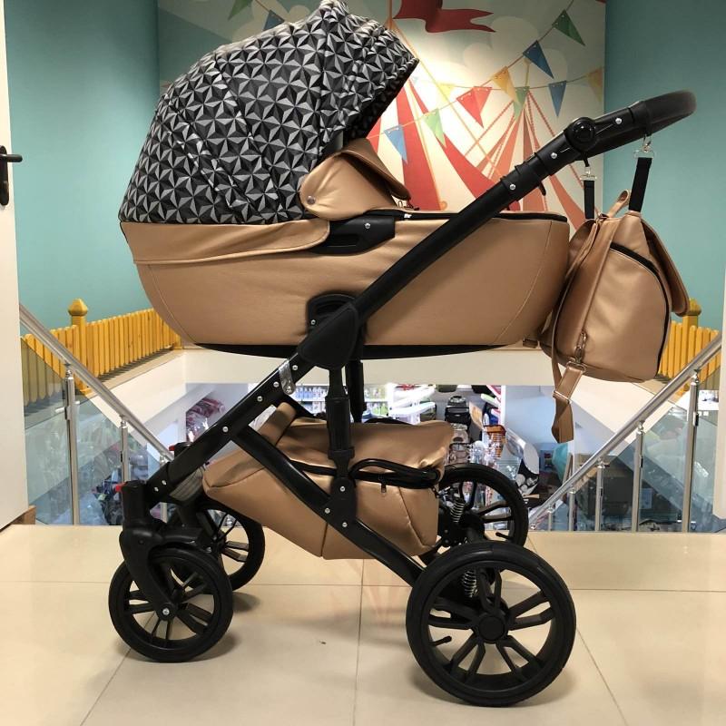 Бебешка количка Camaro 3в1; цвят/меден/шарки