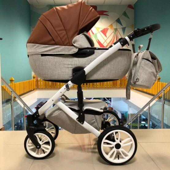 Бебешка количка Camaro 2в1; кафяв/сив