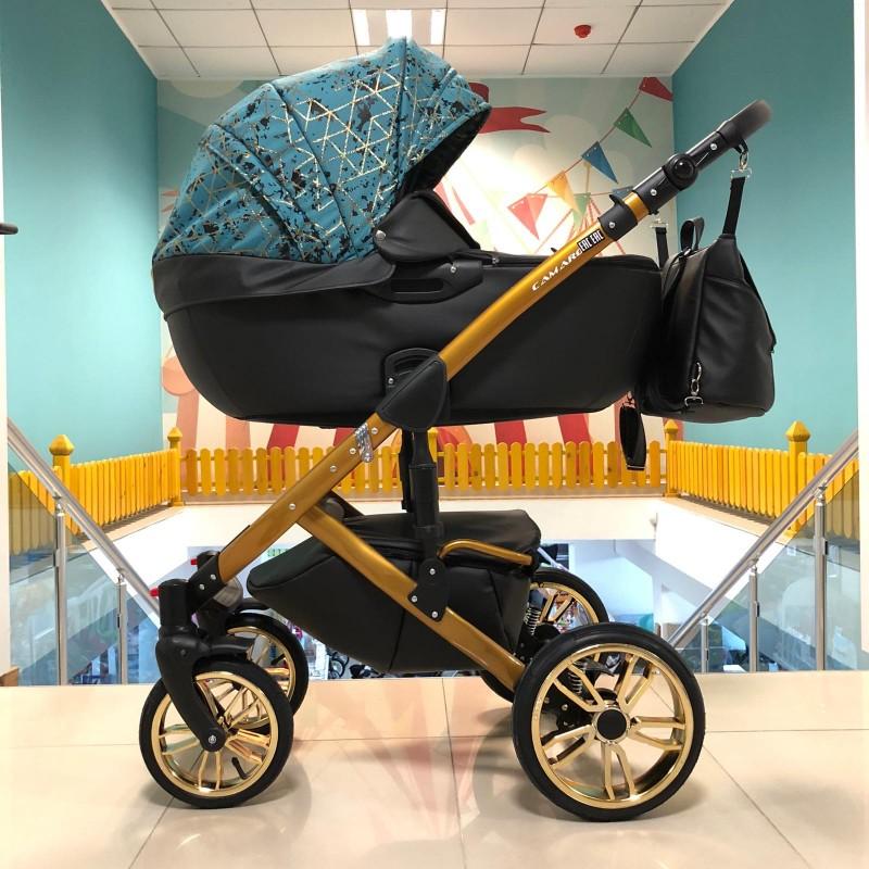 Бебешка количка Camaro gold 3в1; цвят; черен/аквамарин