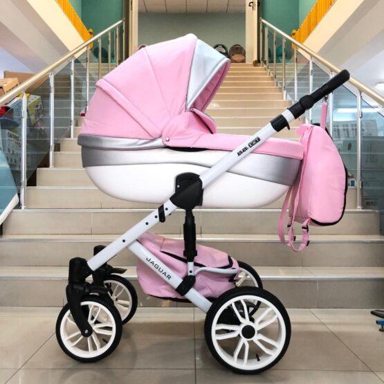 Бебешка количка Jaguar 2в1; цвят/розов/сребърен