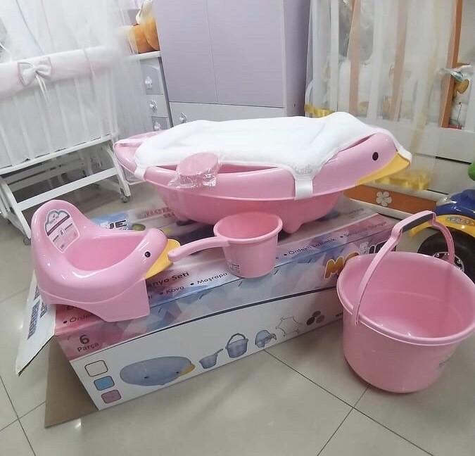 Бебешки комплект за баня 6 части: цвят/розов