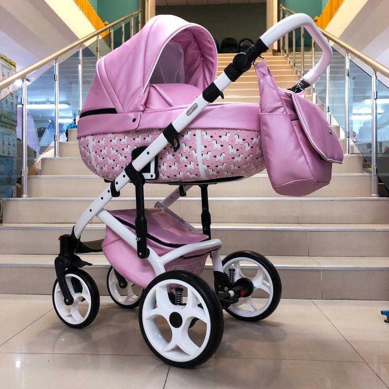 Бебешка количка Kuga 3в1; цвят: розов/еднорози