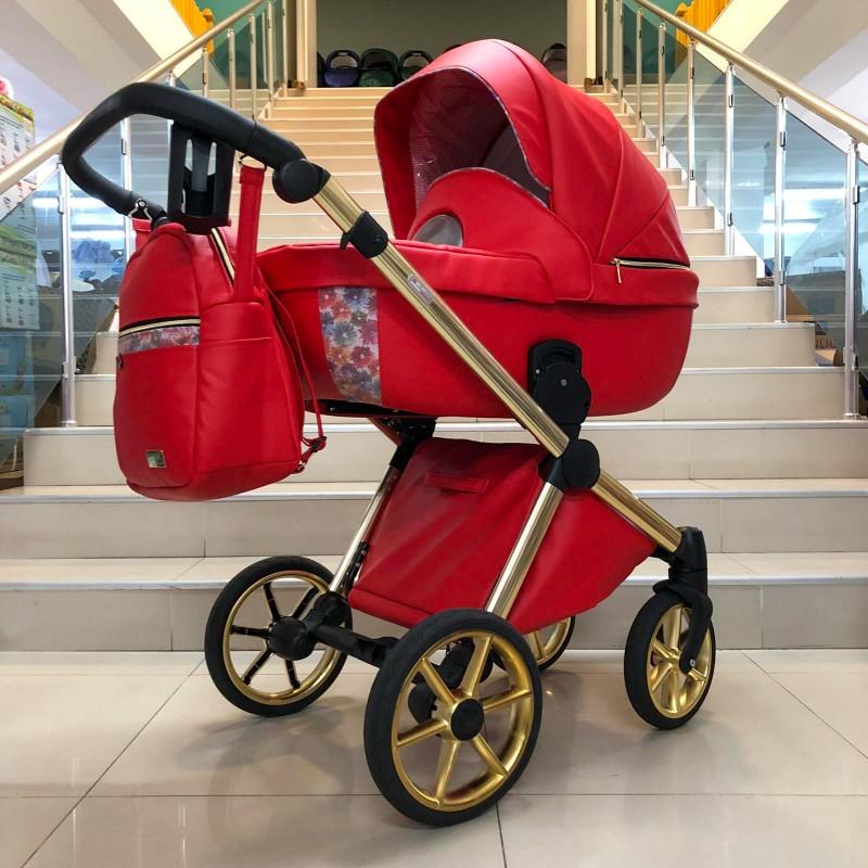Бебешка количка Азуро 3в1 ; цвят: червен/цветя