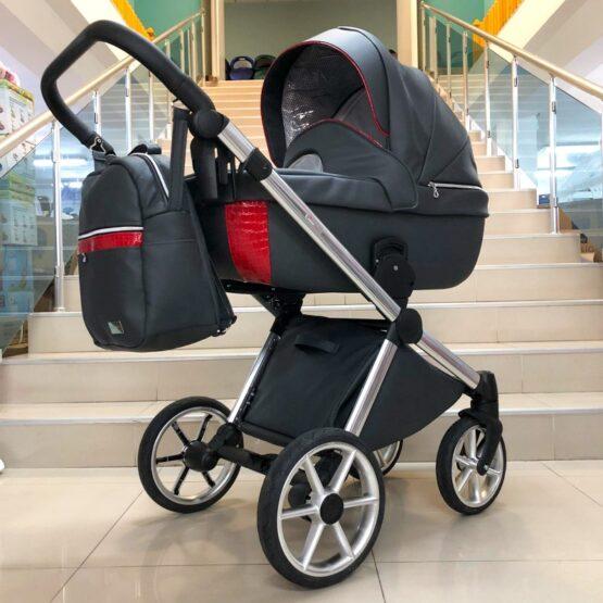 Бебешка количка Азуро 3в1 ; цвят: черно с червено