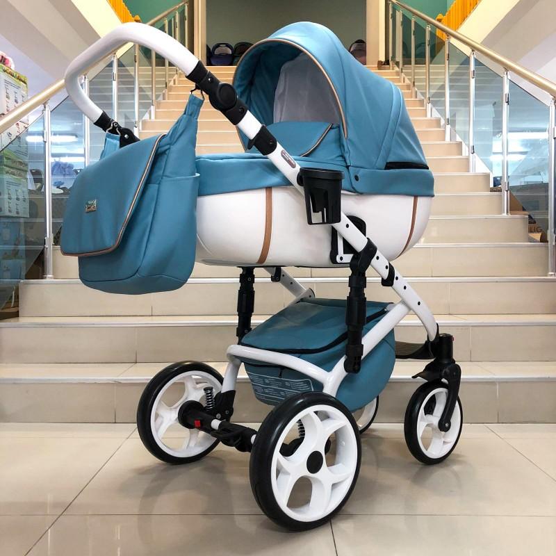 Бебешка количка Kuga 3в1; цвят: син/златен кант