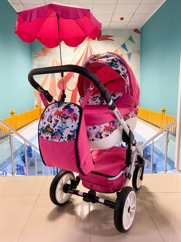 Бебешка количка Jaguar 2в1 + чадър ; цвят : циклама/шарки