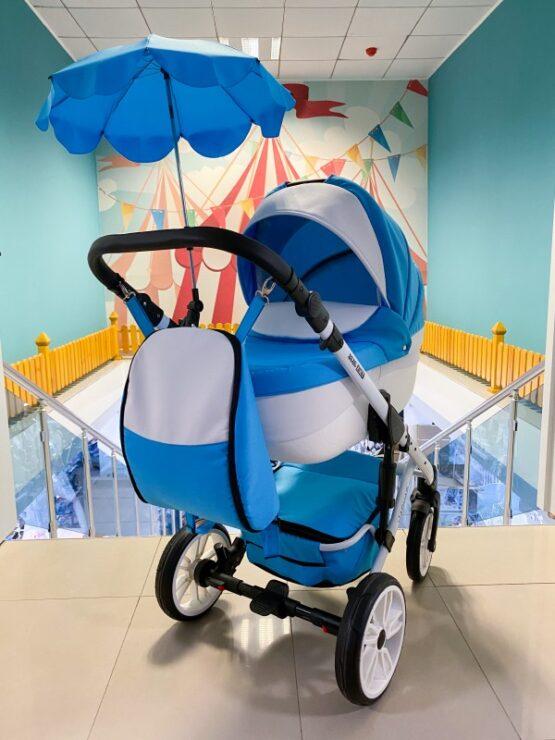 Бебешка количка Jaguar 2в1 + чадър ; цвят : син