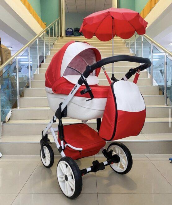 Бебешка количка Jaguar 2в1 + чадър ; цвят: червен
