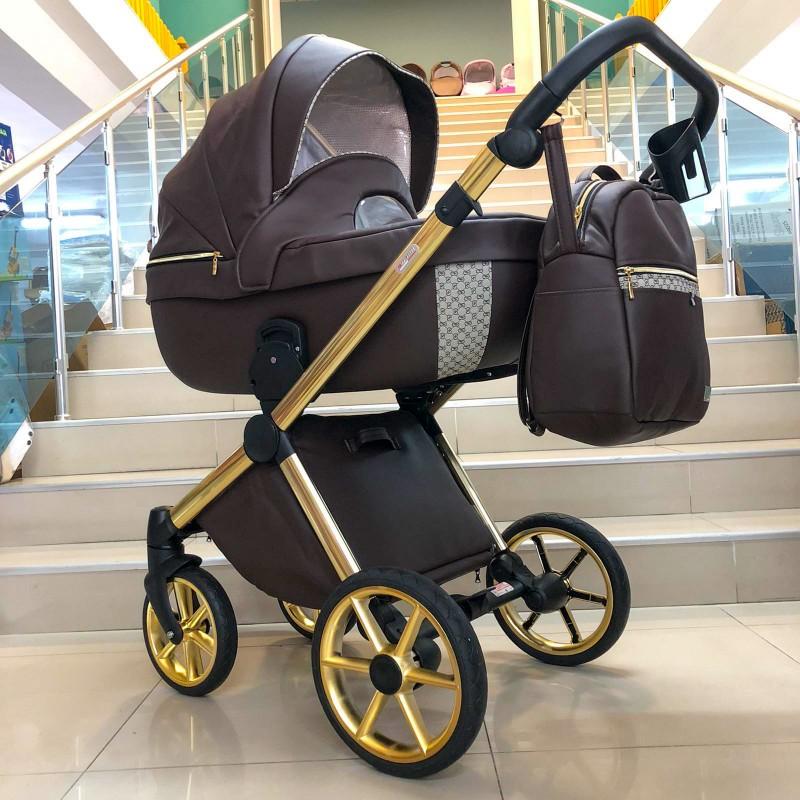 Бебешка количка Азуро 3в1 ; цвят : тъмно-кафяв