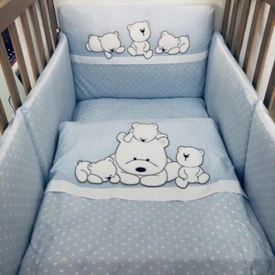 Спален комплект Семейство мечета; цвят : син/бели точки