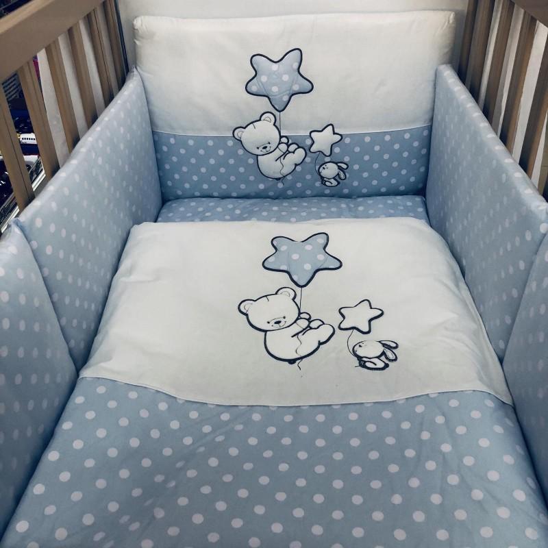 Спален комплект Мече със звезда; цвят; син/бели точки