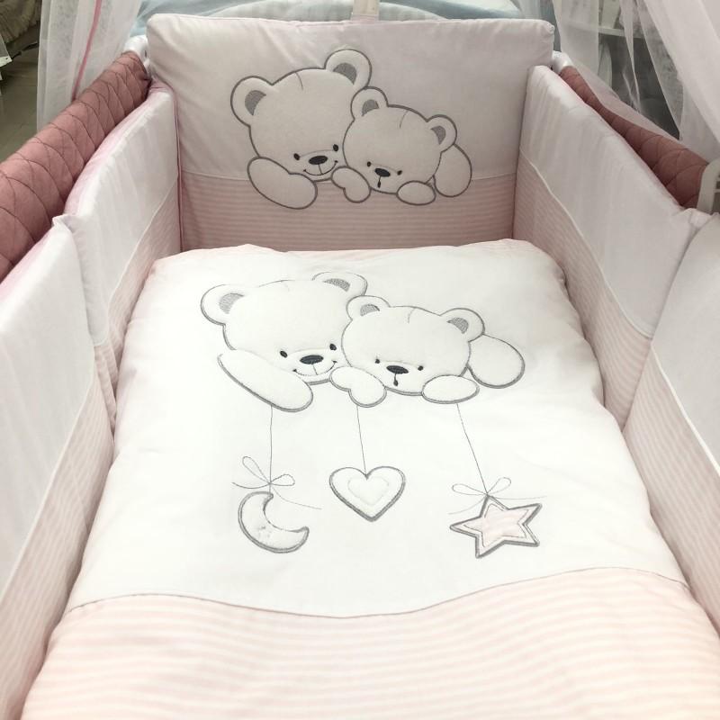 Спален комплект Две мечета; цвят: розов/райе