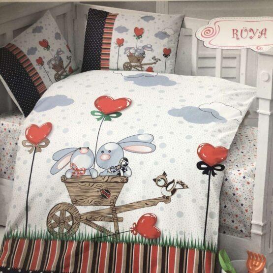 Комплект чаршафи 4 части; цвят: зайчета в количка