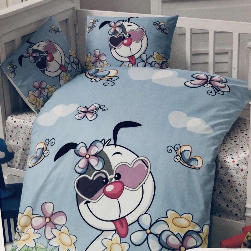 Комплект чаршафи 4 части: цвят; син/куче