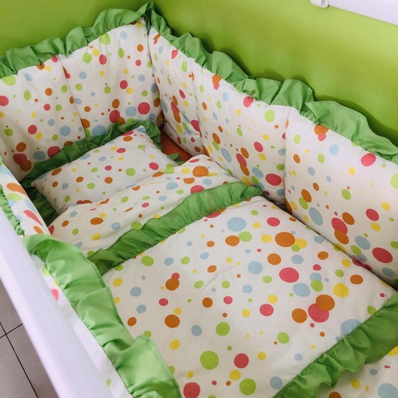 Спален комплект точки; цвят: зелен