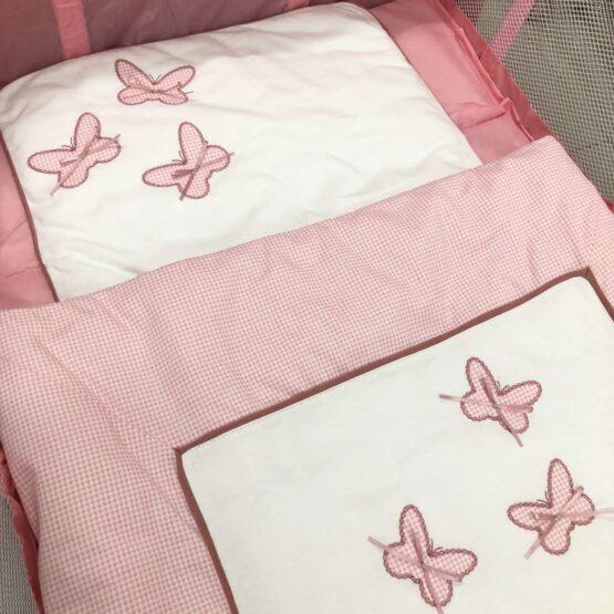 Спален комплект 4 части; цвят: розови пеперуди