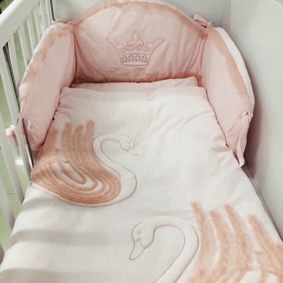 Спален комплект Лебед 6 части; цвят: розов