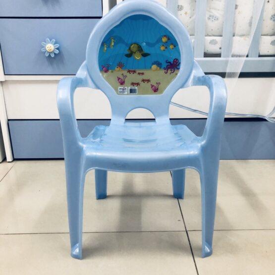 Детско пластмасово столче; цвят : син/шарки