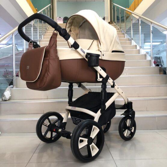 Бебешка количка Kuga 3в1: цвят: крем/кафяв