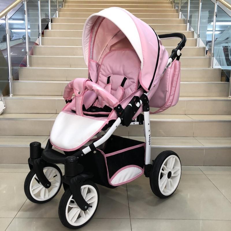 Комбинирана бебешка количка Vespa: цвят: розов/бял