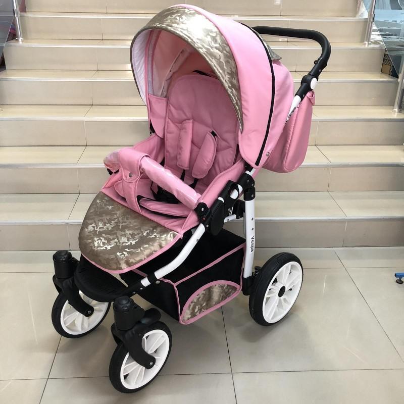 Комбинирана бебешка количка Vespa: цвят: розов/златен