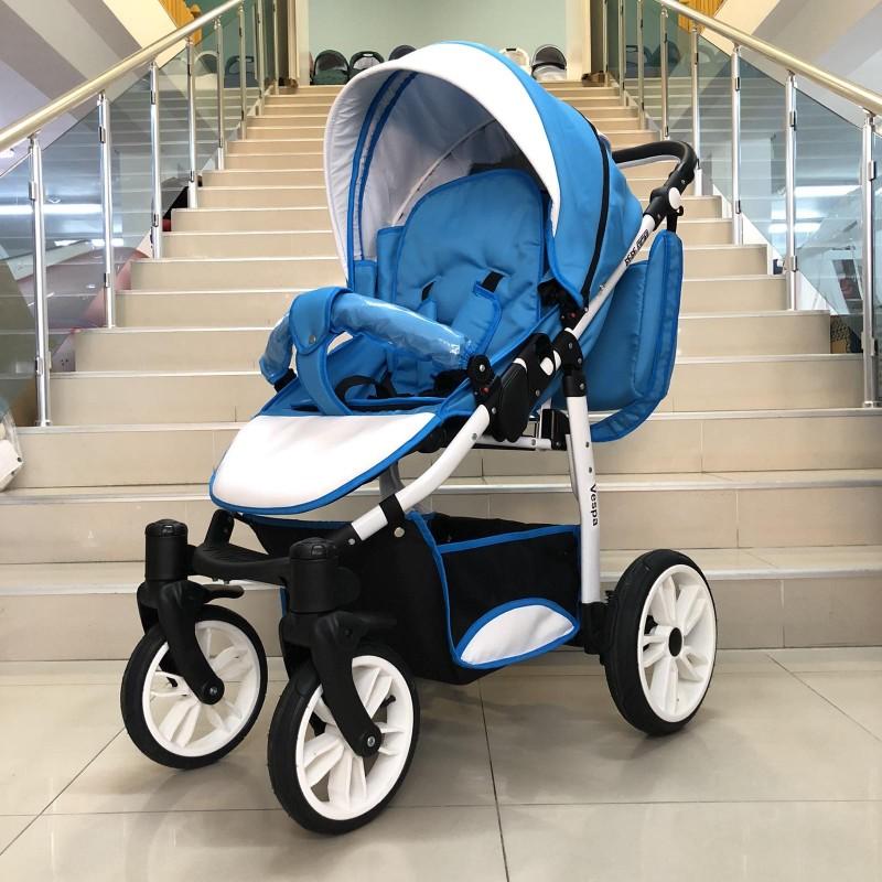 Комбинирана бебешка количка Vespa: цвят: син/бял