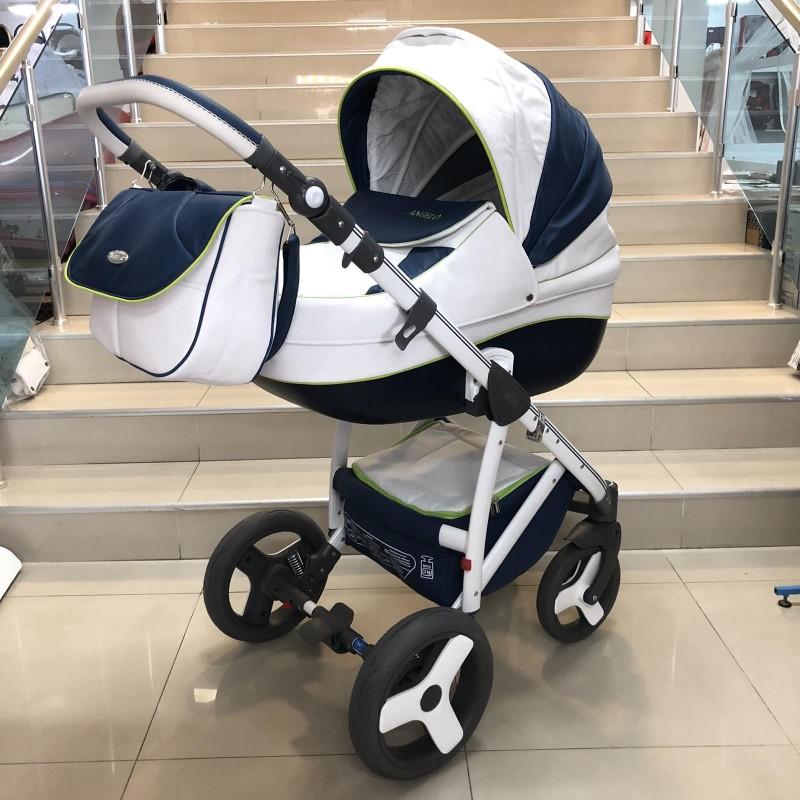 Бебеша количка Angelo 2в1 : цвят: бял/тъмно-син