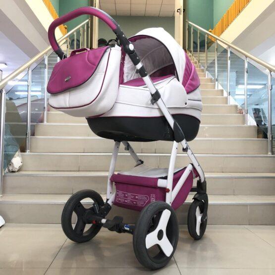 Бебешка количка Angelo 2в1: цвят: бял/циклама