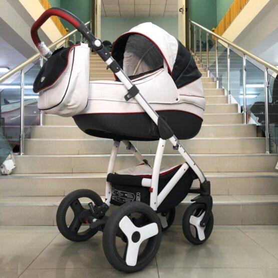 Бебешка количка Angelo 2в1: цвят:бял/тъмно-сив/червен кант