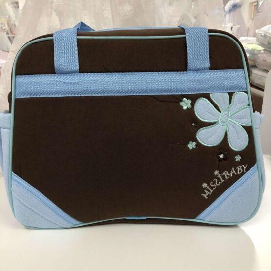 Чанта Миси : цвят : тъмно-кафяв/синьо цвете