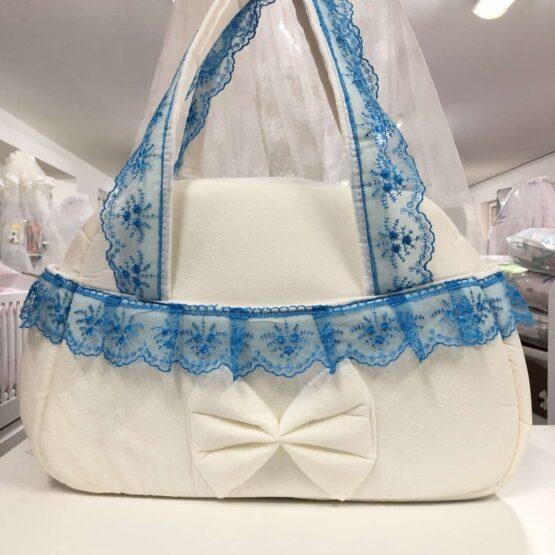 Чанта Миси Лукс : цвят: бял/синя дантела