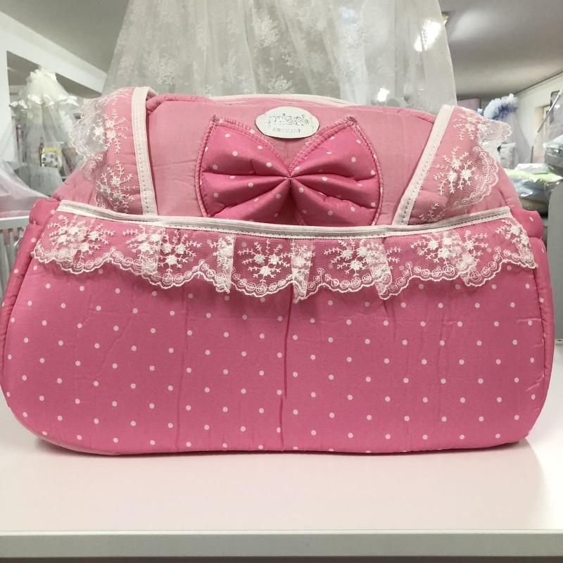 Чанта Миси Лукс : цвят : розов/ бели точки