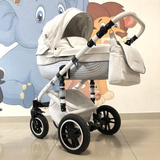 Бебешка количка Huracan 3в1: цвят: бял
