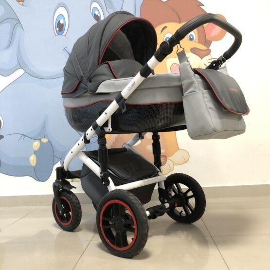 Бебеша количка Huracan 3в1: цвят: тъмносив/сив/червен