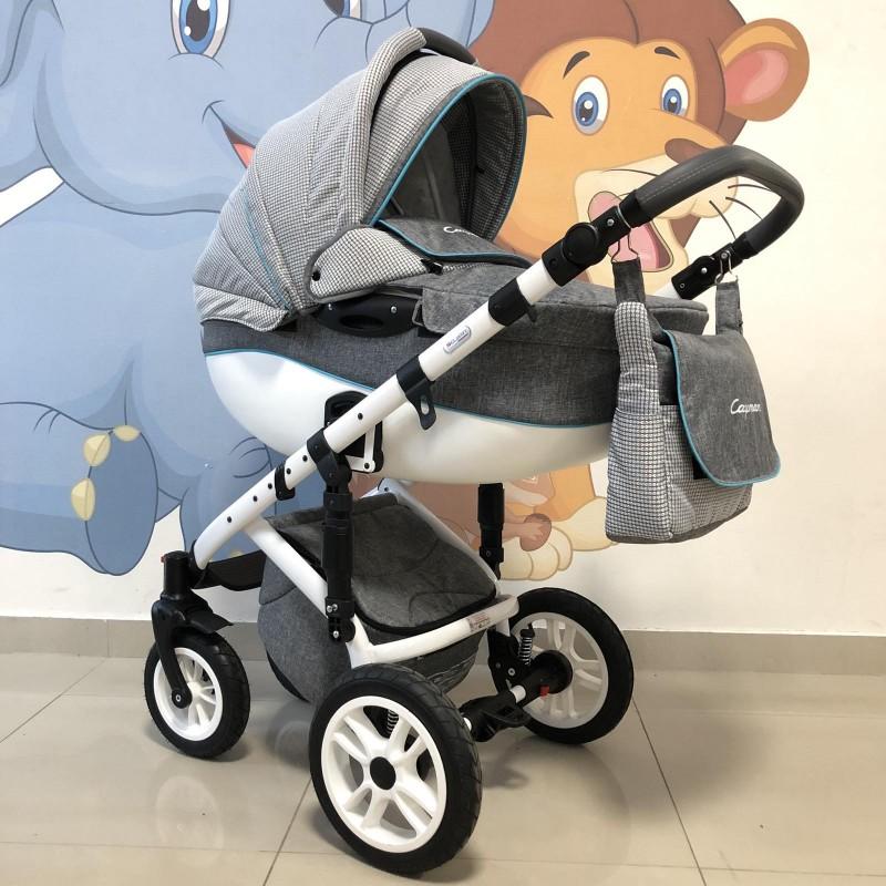 Бебешка количка Cayman 3в1: цвят: сив/син кант