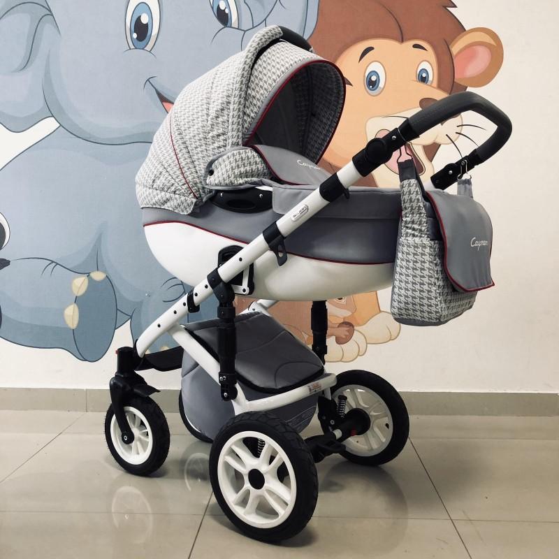 Бебешка количка Cayman 3в1: цвят: сив/червен кант