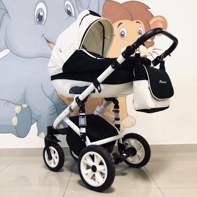 Бебешка количка Macan 3в1: цвят: бял/черен