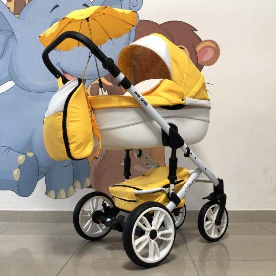 Бебешка количка Jaguar 2в1 + чадър: цвят: жълт