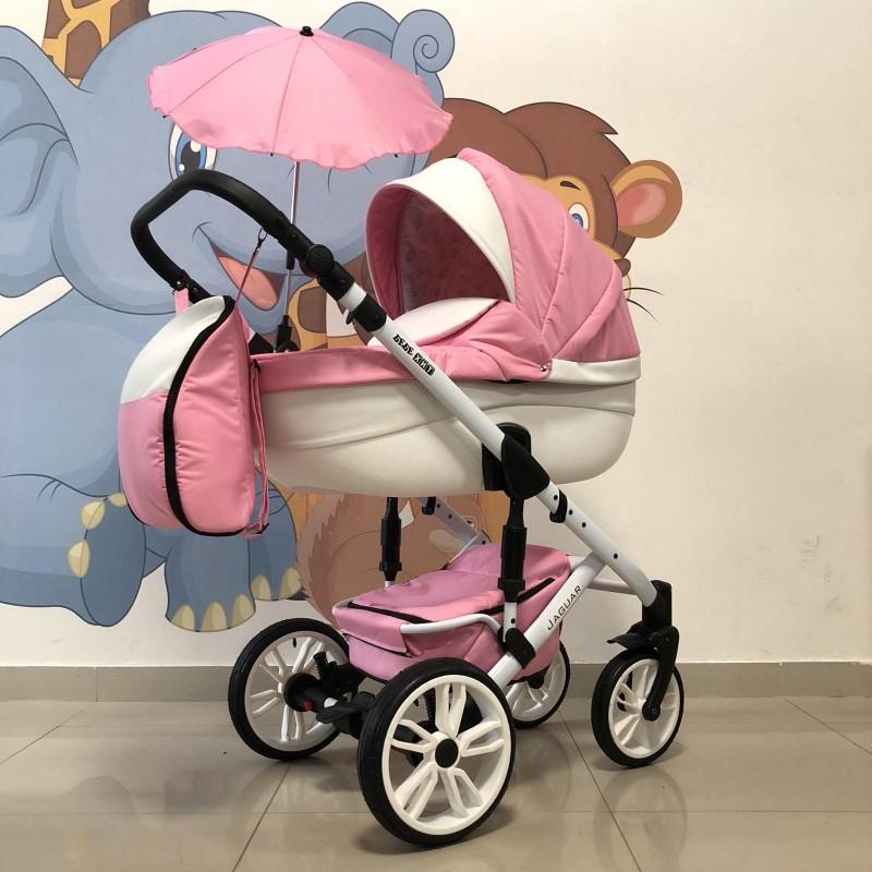 Бебешка количка Jaguar 2в1 +чадър: цвят: розов