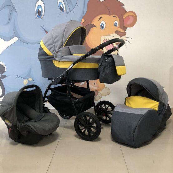 Бебешка количка Alvaro 3в1; цвят: сив/жълт