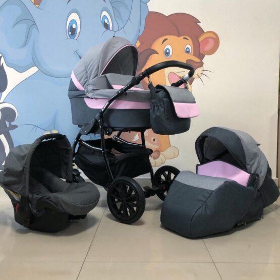 Бебешка количка Alvaro 3в1: цвят: сив/розов