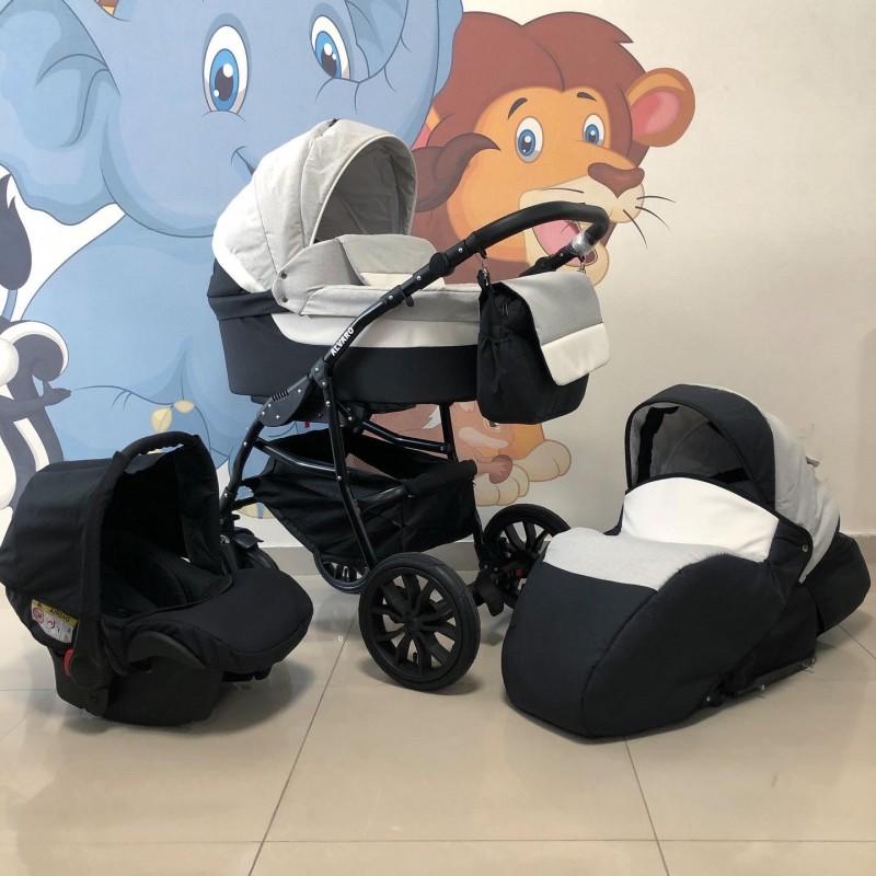 Бебешка количка Alvaro 3в1: цвят: сив/тъмносив