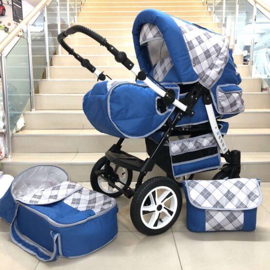 Бебешка количка Ross : цвят: син/каре