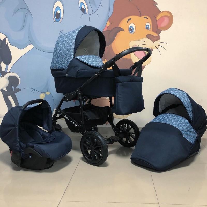 Бебешка количка Cooper 3в1: цвят: тъмно син/шарки